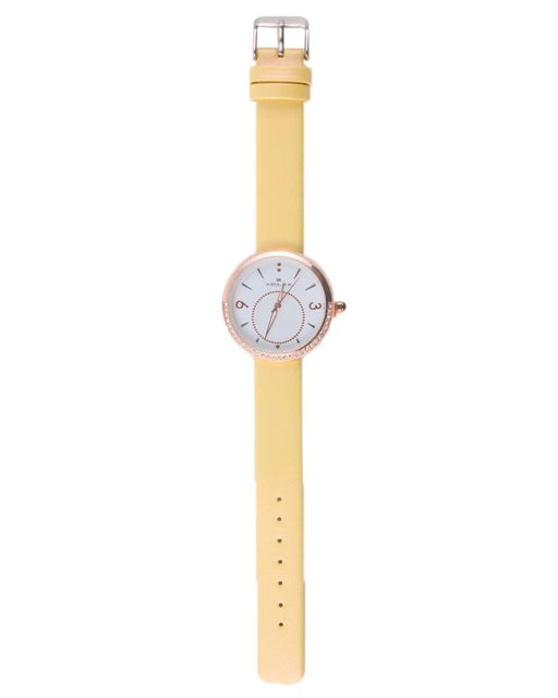 Style and Comfort Yellow Leather Watch for Women - LW-2152