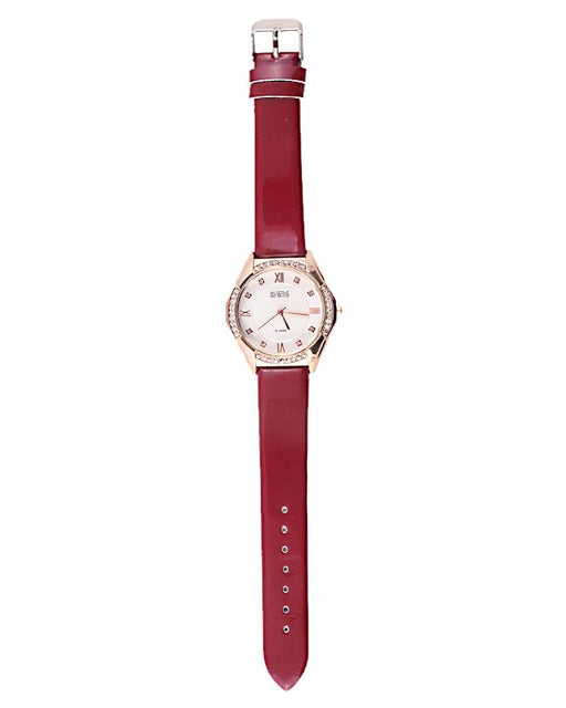 Style and Comfort Maroon Leather Watch for Women - LW-2140