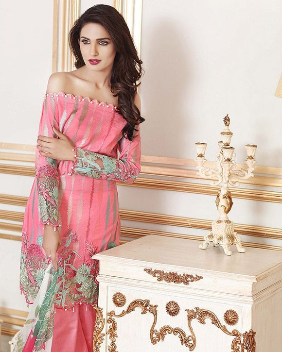 Gul Ahmed Pink Festive Collection 2017 Eid Festive 3 Pc Premium Embroidered Chiffon-FE # 63 Unstitched
