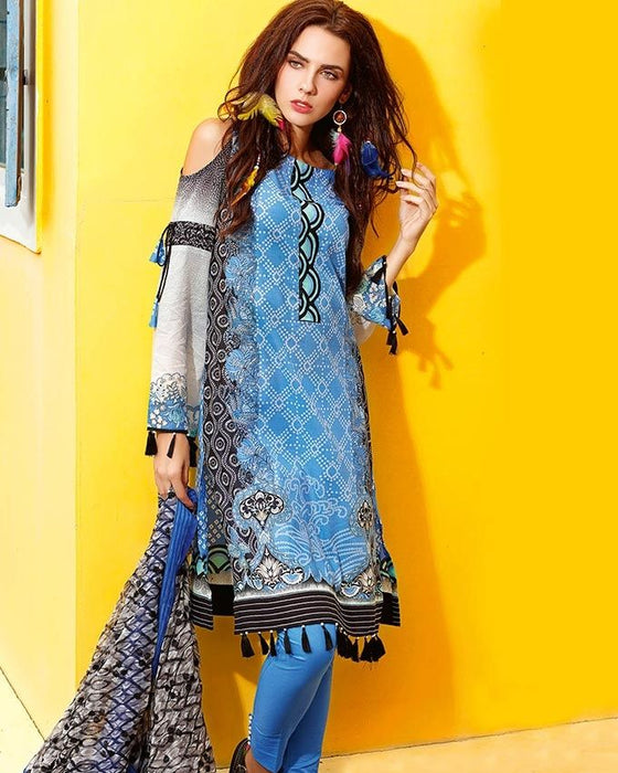 Gul Ahmed Turquoise Spring/Summer 2017 Collection Printed Chantilly De Lace-CT # 200