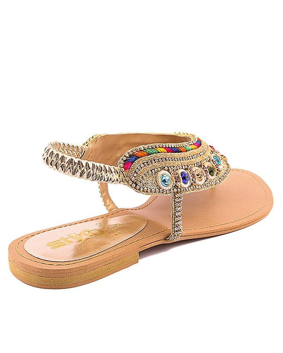 Stylo Shoes Golden Synthetic Leather Sandals - L65630 - US Size