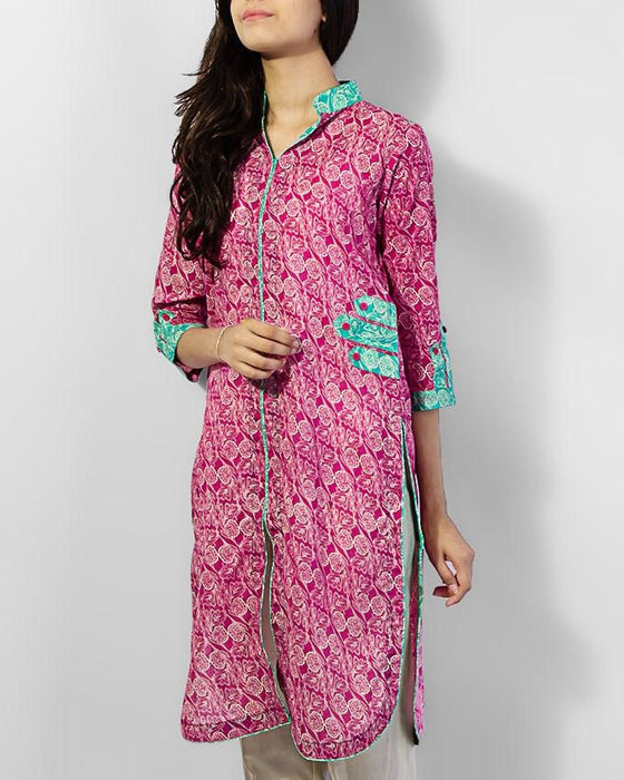 Style Inn Pink Lawn Printed Kurta With Sea Green Stripes