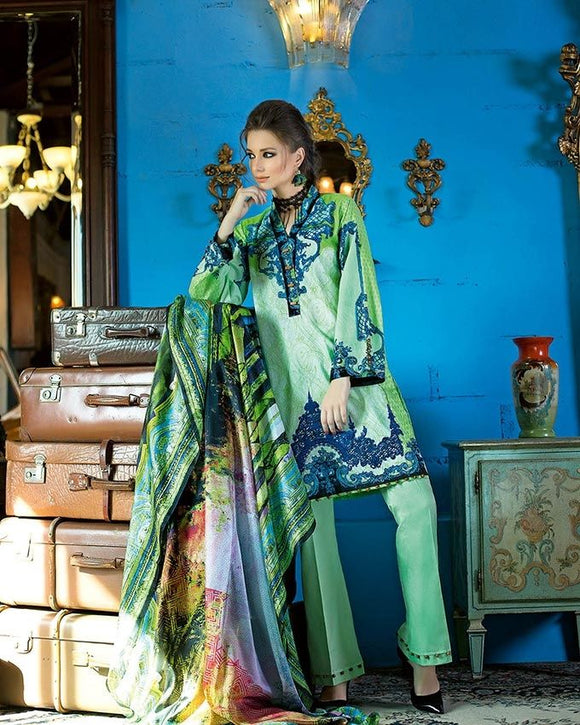 Gul Ahmed Green Spring/Summer 2017 Collection Digital Printed Silk-DG # 20