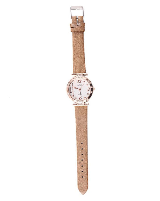 Style and Comfort Fawn Leather Watch for Women - LW-2141