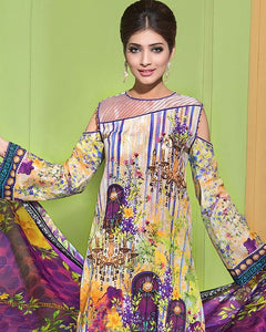 Gul Ahmed Purple Spring/Summer 2017 Collection Digital Printed Lawn-CL # 209