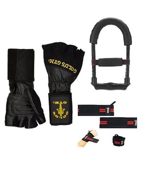JR Sports Pack Of 3 - Wrist Wrap Lifting Gloves, Wrist Exerciser & Weight Lifting Gym Strap