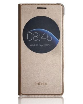Smart Leather Case with Watch Sensor for Infinix Note 3 X601 - Golden