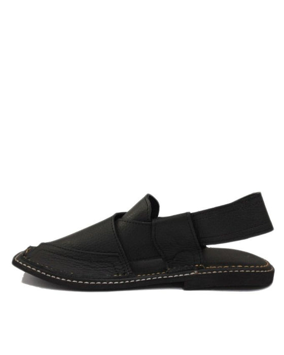 Black Upper Cow Leather with Tyre Sole Zalmi Style Chappal