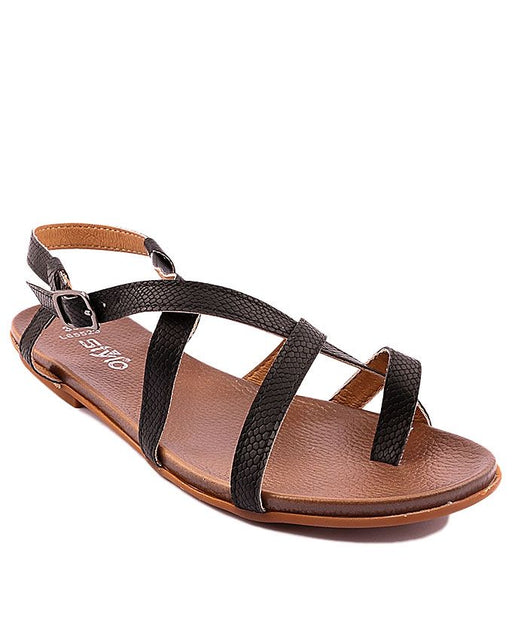 Stylo Shoes L65523 - Black Synthetic Leather Sandals - Euro Size
