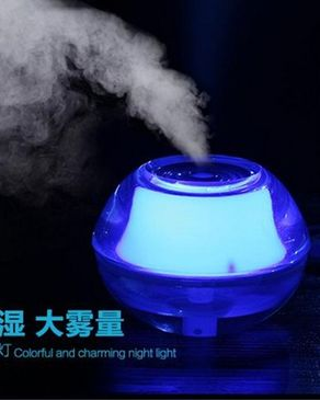 GS Wholeseller USB Air Humidifier LED Crystal Night Light Air Fresher - Blue