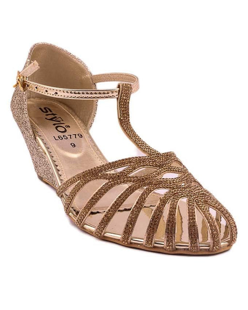Stylo Shoes L65779 - Golden Synthetic Leather Sandal For Women - US Size