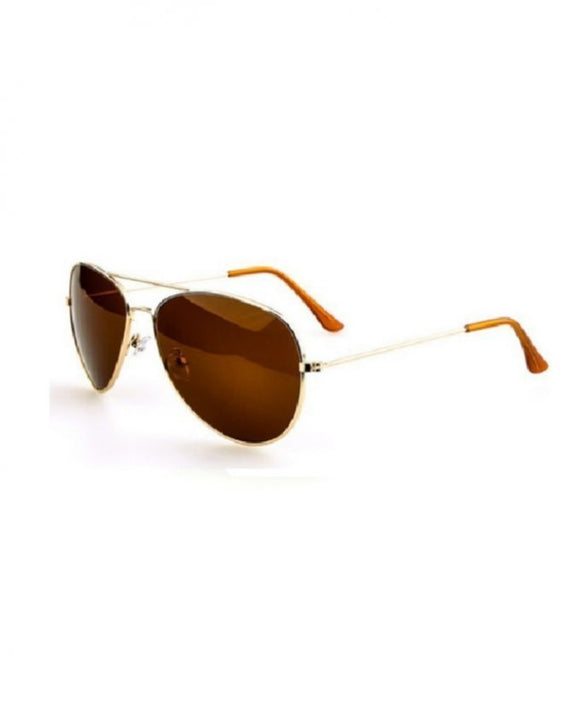 Brown Metal Aviator Sunglasses for Men