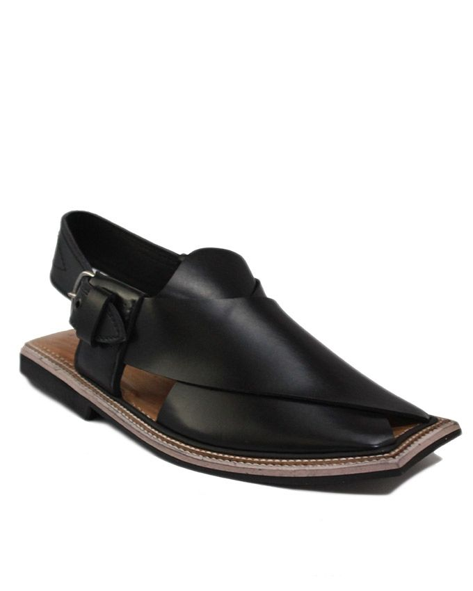 Black Leather with Tyre Sole Jamrud Style Chappal