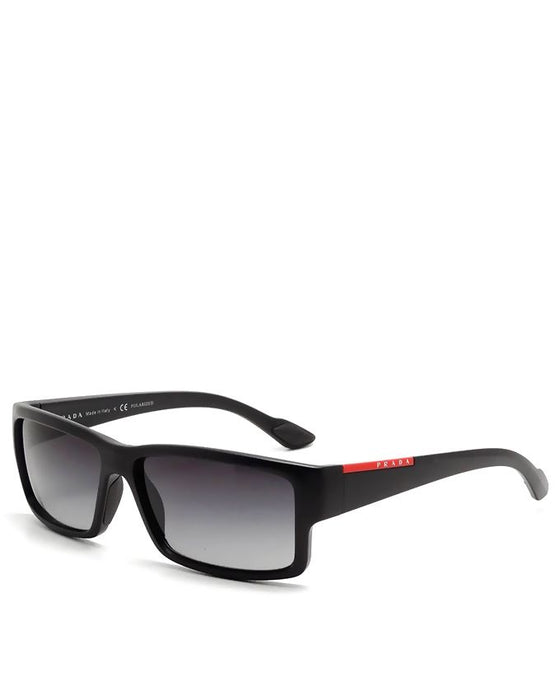 Black Acetate Shiny Frame with Grey Shaded Polarized Lens Sunglasses for Men