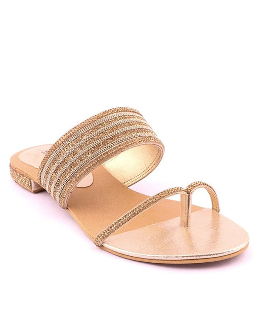 Stylo Shoes L87413 - Golden Synthetic Leather Flats For Women - US Size