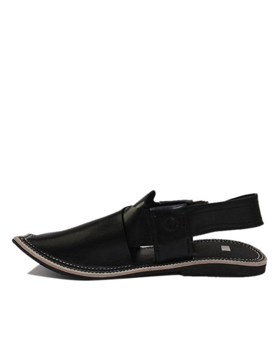 Black Upper Cow Leather with Tyre Sole Jamrud Style Chappal
