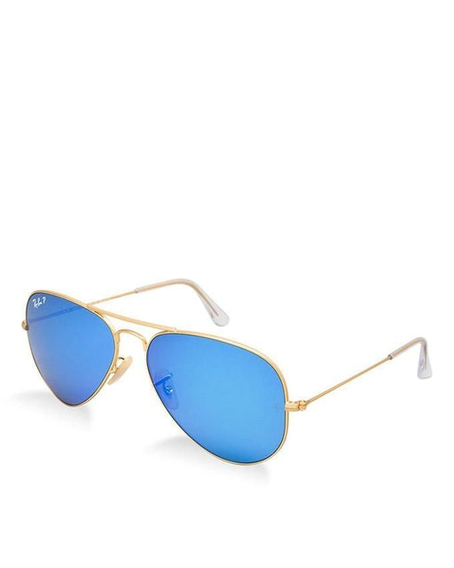acc62cbfda Ray-Ban Aviator Metal Golden Frame Glasses With Blue Flash Polarized Lens -  RB3025-