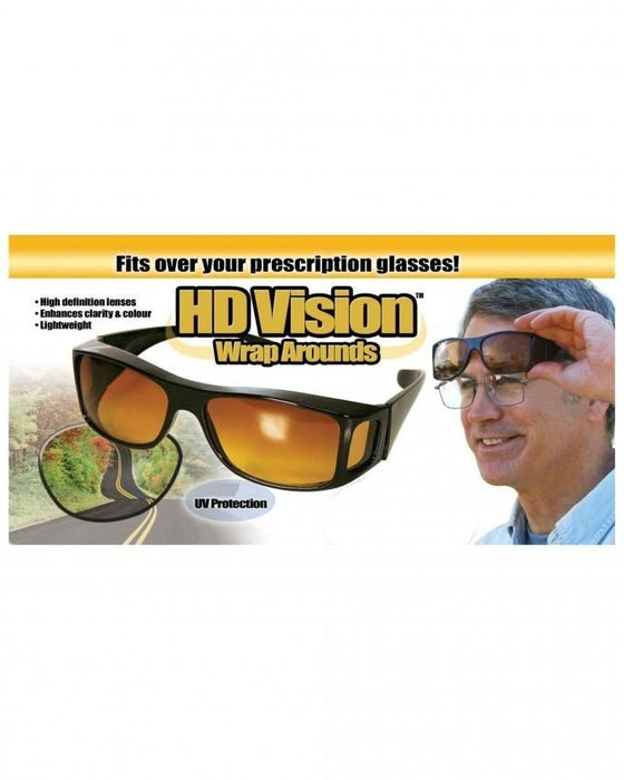 Night Vision Unisex Driving Sunglasses Yellow Lens Over Wrap Around Glasses