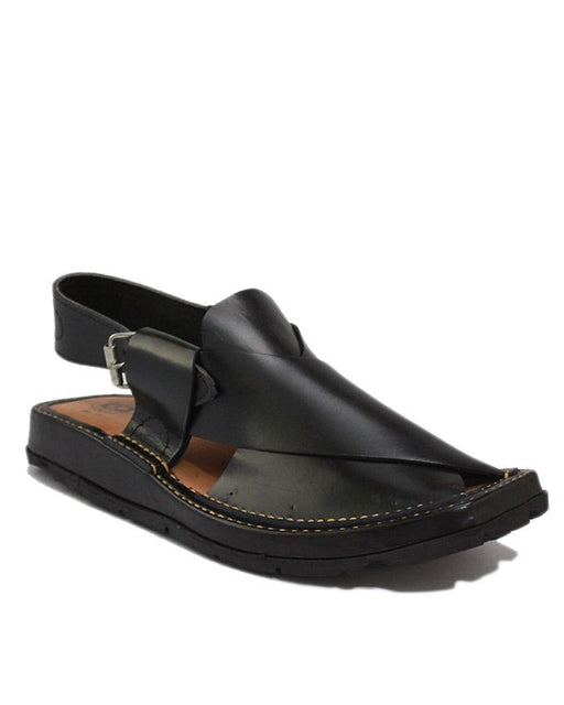 Black Leather with Tyre Sole Peshawri Style Chappal