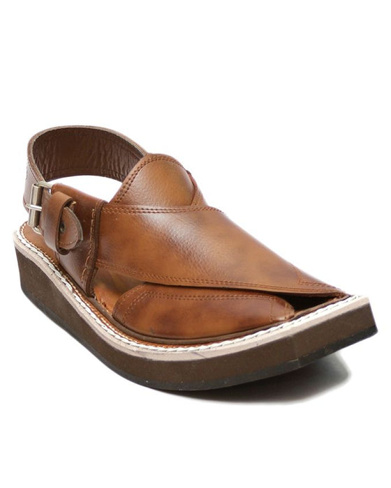 Brown Leather Kaptaan Casual Sandal for Men