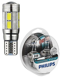Pack of Two - Philips Xtreme Vision 130% H4 & T10 smd Canbus LED - Car Parking Lights - White
