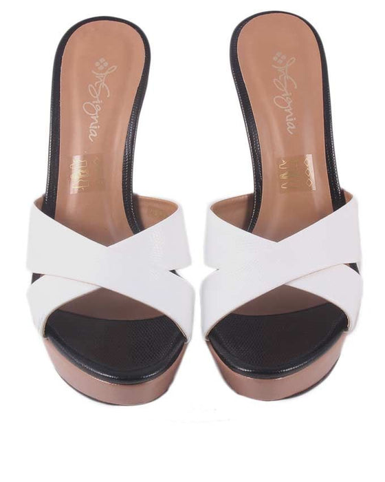 Insignia I38024 - White Synthetic Leather Heels For Women - Euro Size