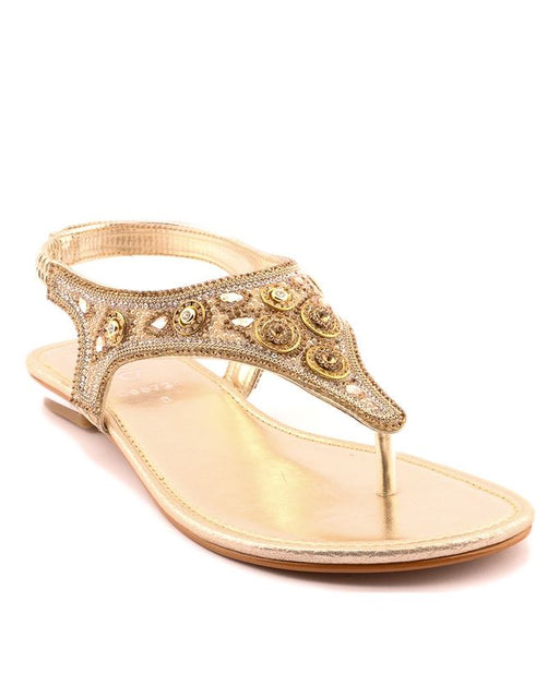 Stylo Shoes L65724 - Golden Synthetic Leather Sandal For Women - US Size