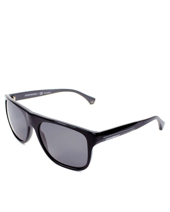 Emporio Armani Black on Top of Grey Frame Grey Polarized Lens Sunglasses For Men