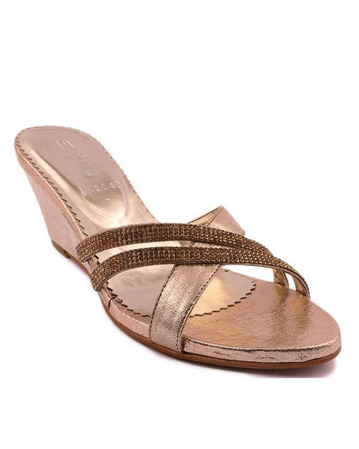 Stylo Shoes L19042 - Golden Synthetic Leather Sandal For Women - US Size