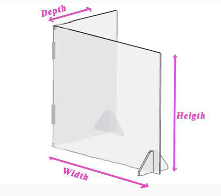 COVID-19  - 2-sided - L Shape -  Plexiglass  Sneeze Guard With Stands