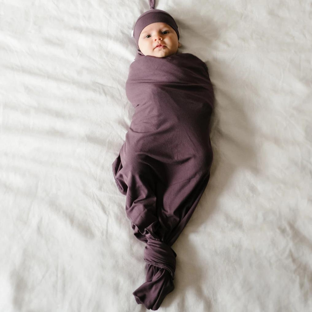 Grape Bamboo Swaddle Blanket and Hat