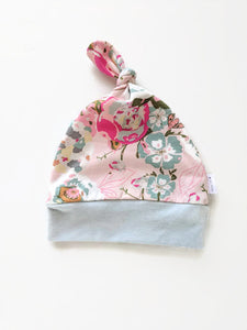 Rose Cotton Top Knot Hat