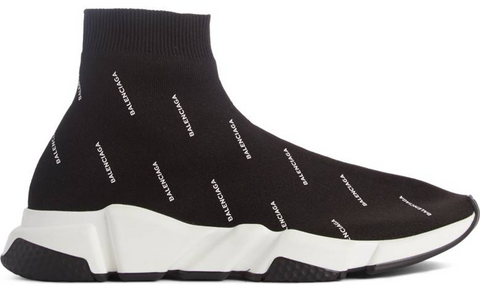 Balenciaga speed trainer logo print black white