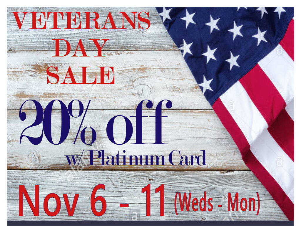 Veteran's Day Sale - 20% Off with Platinum Card