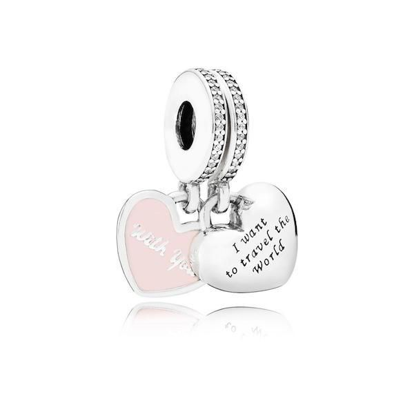 "Pandora ""I Want to Travel the World with You"" Double Dangle Charms"
