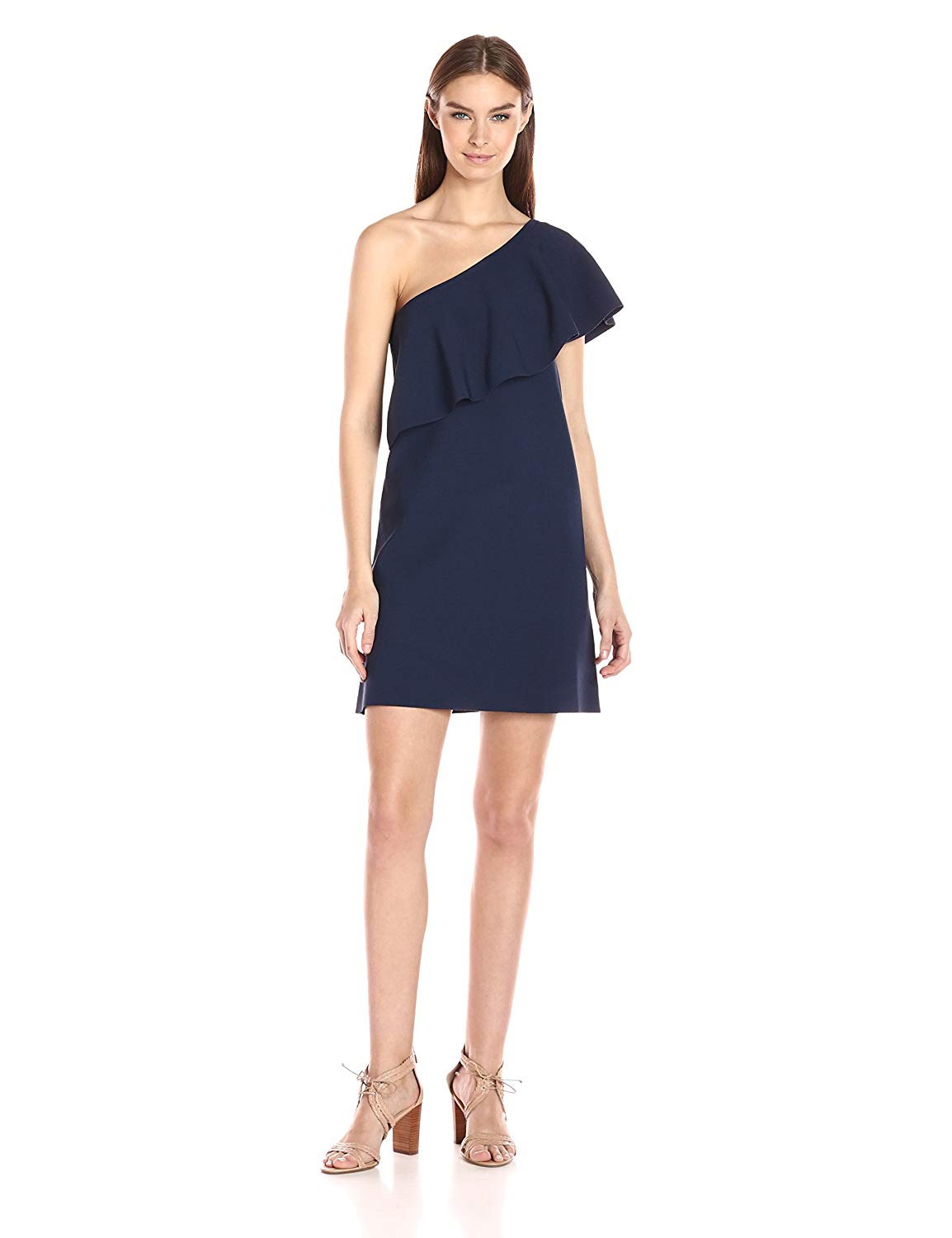 Milly One Shoulder Flounce Dress - size P