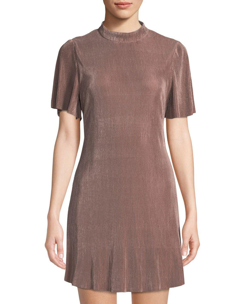 J.O.A. Micro-Pleated Mock-Neck Mini Dress in Pink- size L