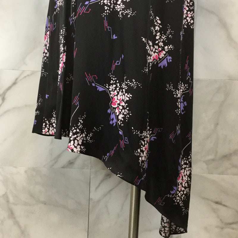 Lewit Floral Stretch Silk A-Line Dress - size 6