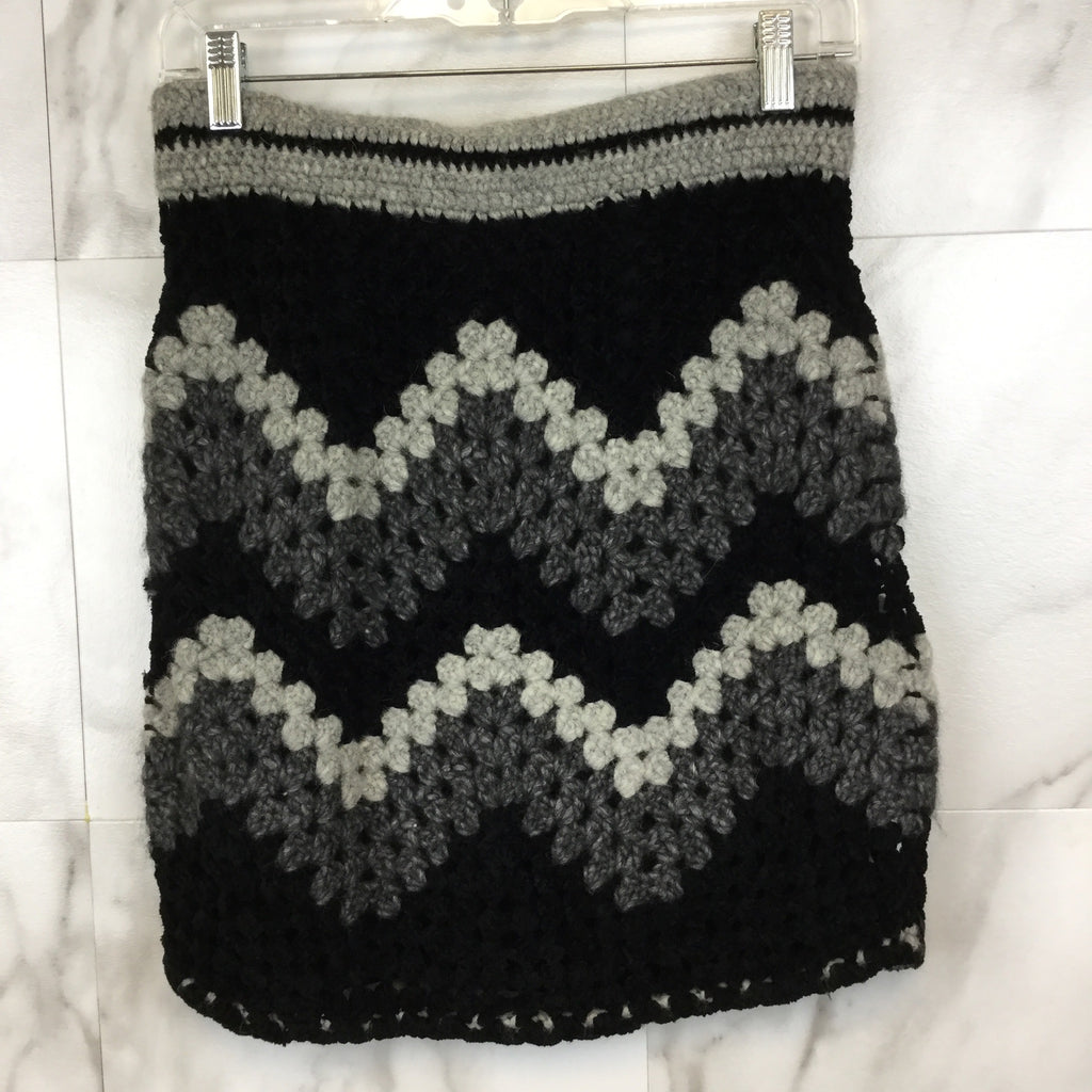 Rag + Bone Black and Grey Crochet Skirt- size S