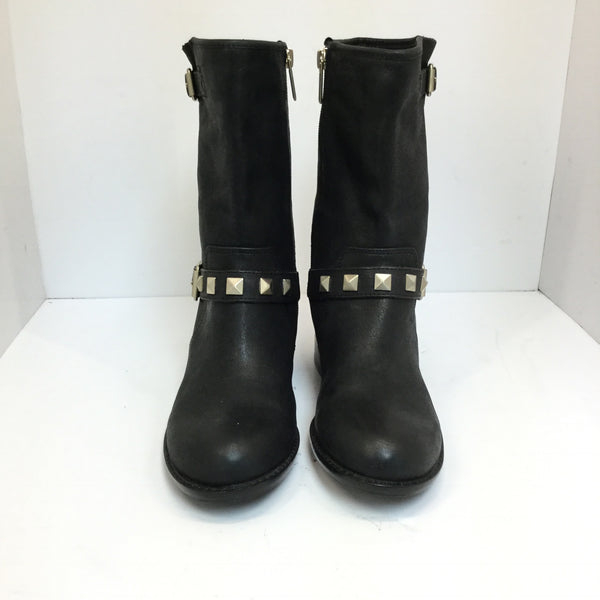 Gray Saks 5th Ave Wolly Studded Leather Short Boots size 6