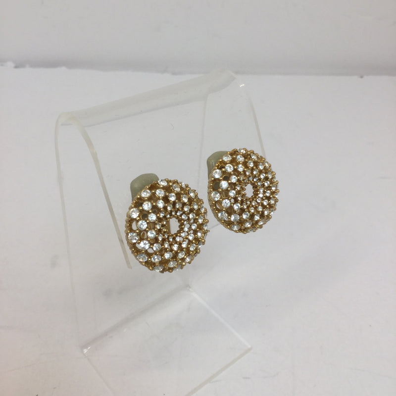 St. John Diamond and Gold Toned Clip Earrings