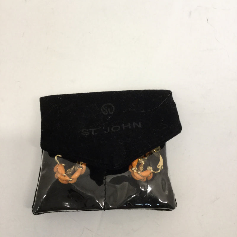 St. John Orange Enamel Clip Earrings