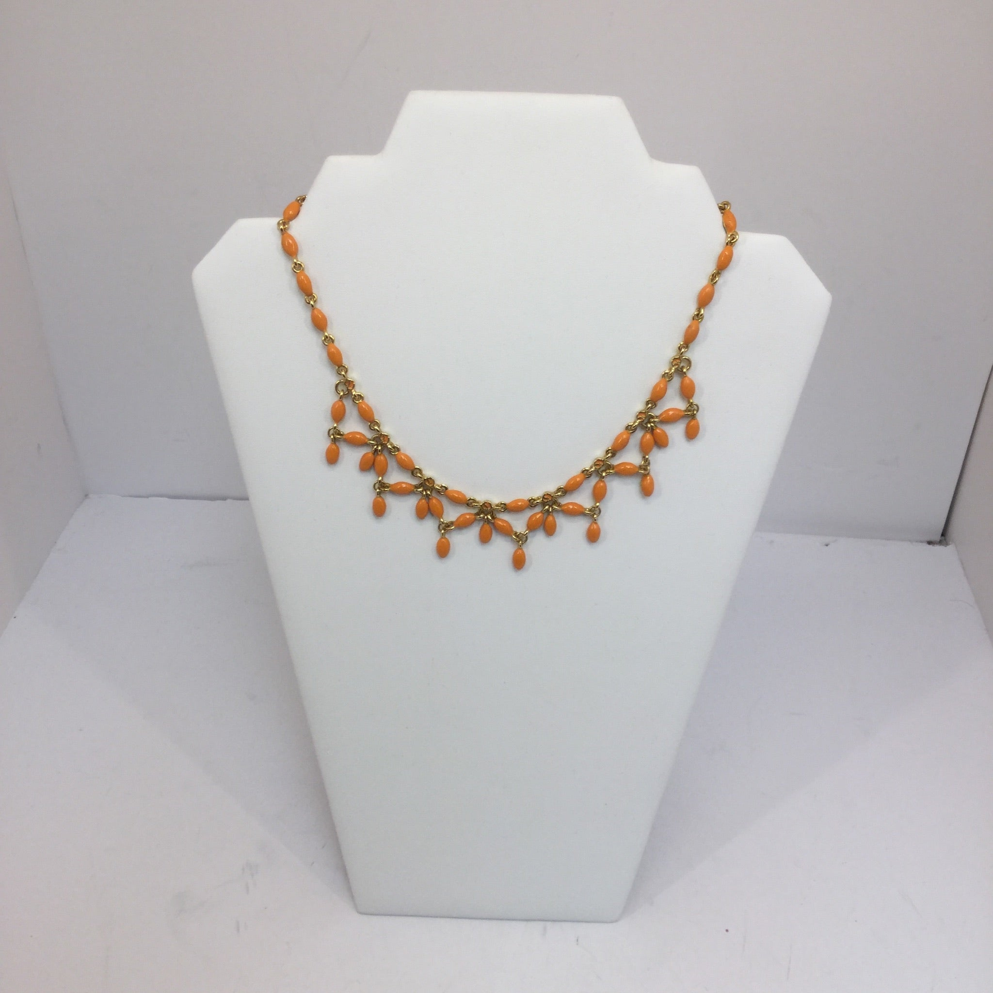St. John Orange Chain + Enamel Necklace