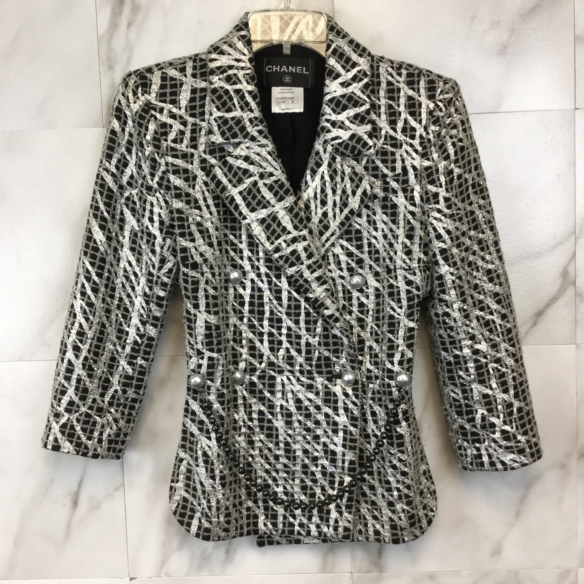 Chanel Metallic Tweed High-Low Jacket - size FR38
