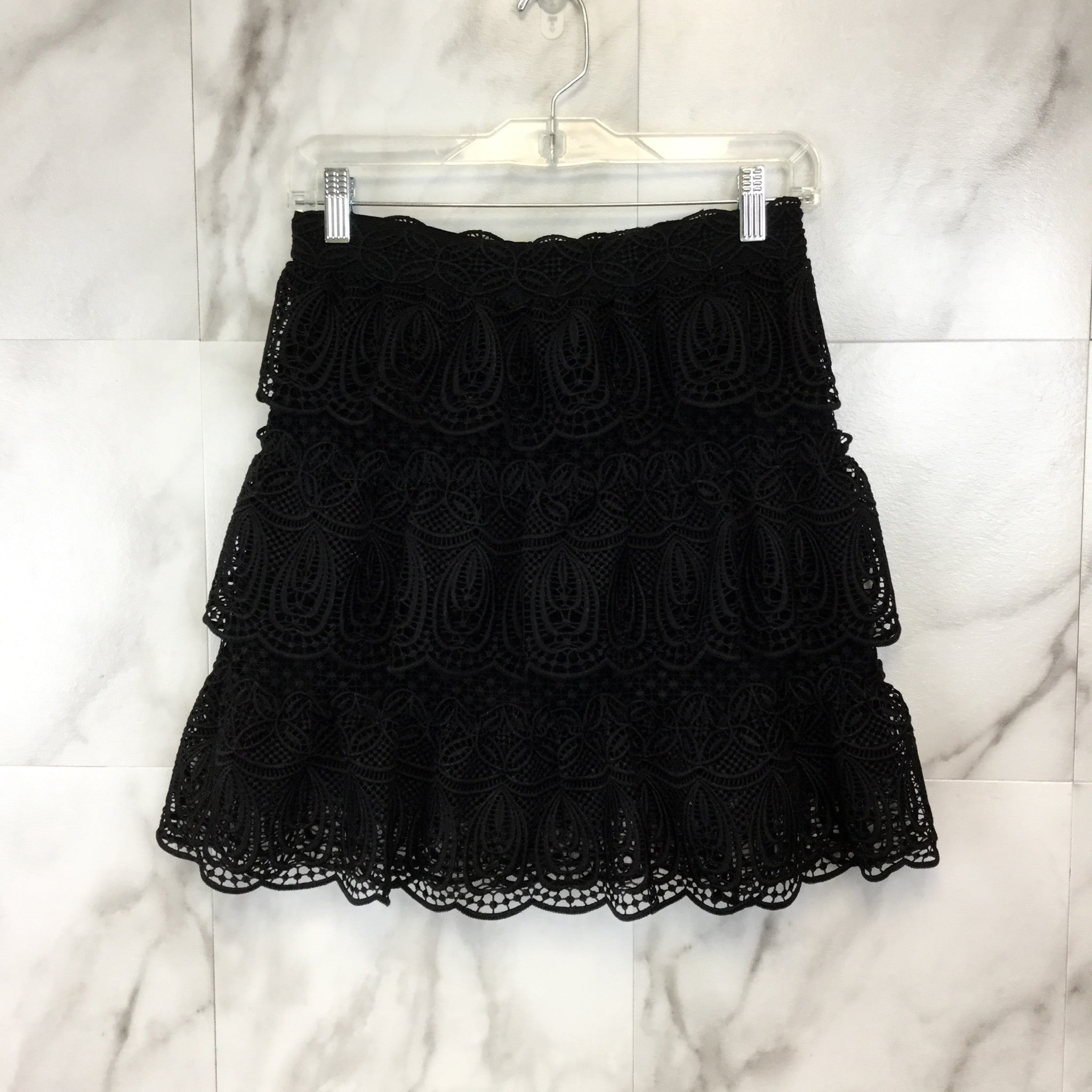 Self-Portrait Lace Peplum Skirt - Size 4