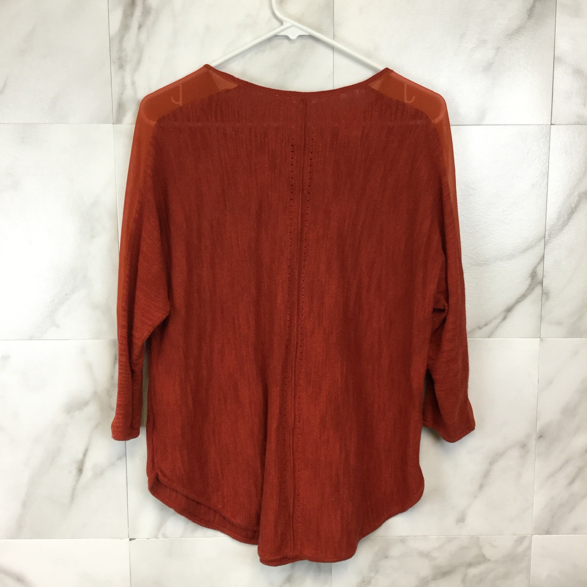 Anthropologie Moth Sheer Sleeve Knit Top - Size M