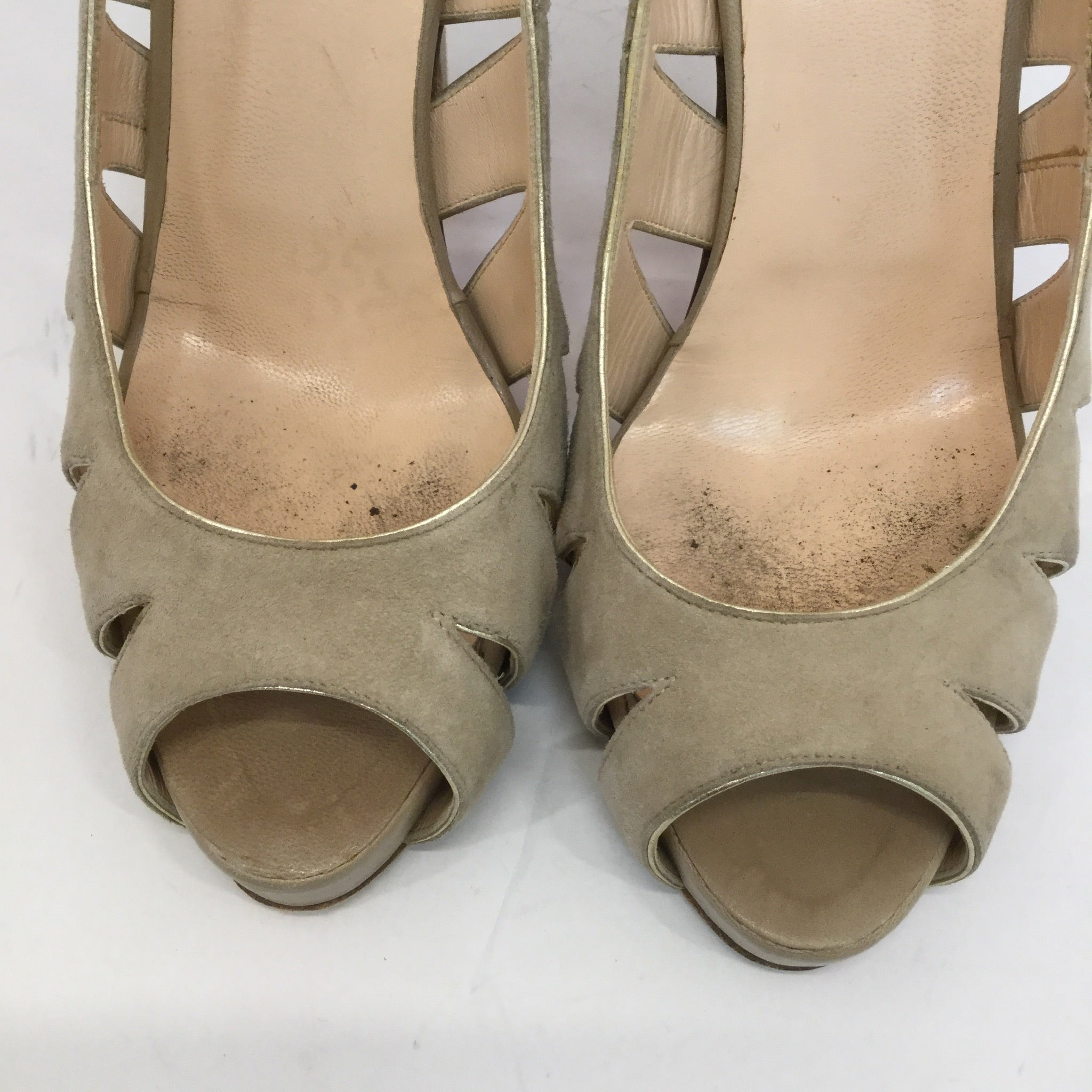 Christian Louboutin Suede Cut Out Pumps - size 37.5
