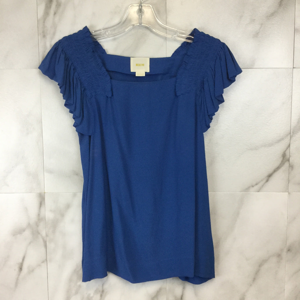 Anthropologie Maeve Epaulet Blue Ruffle Sleeve Top - size 0
