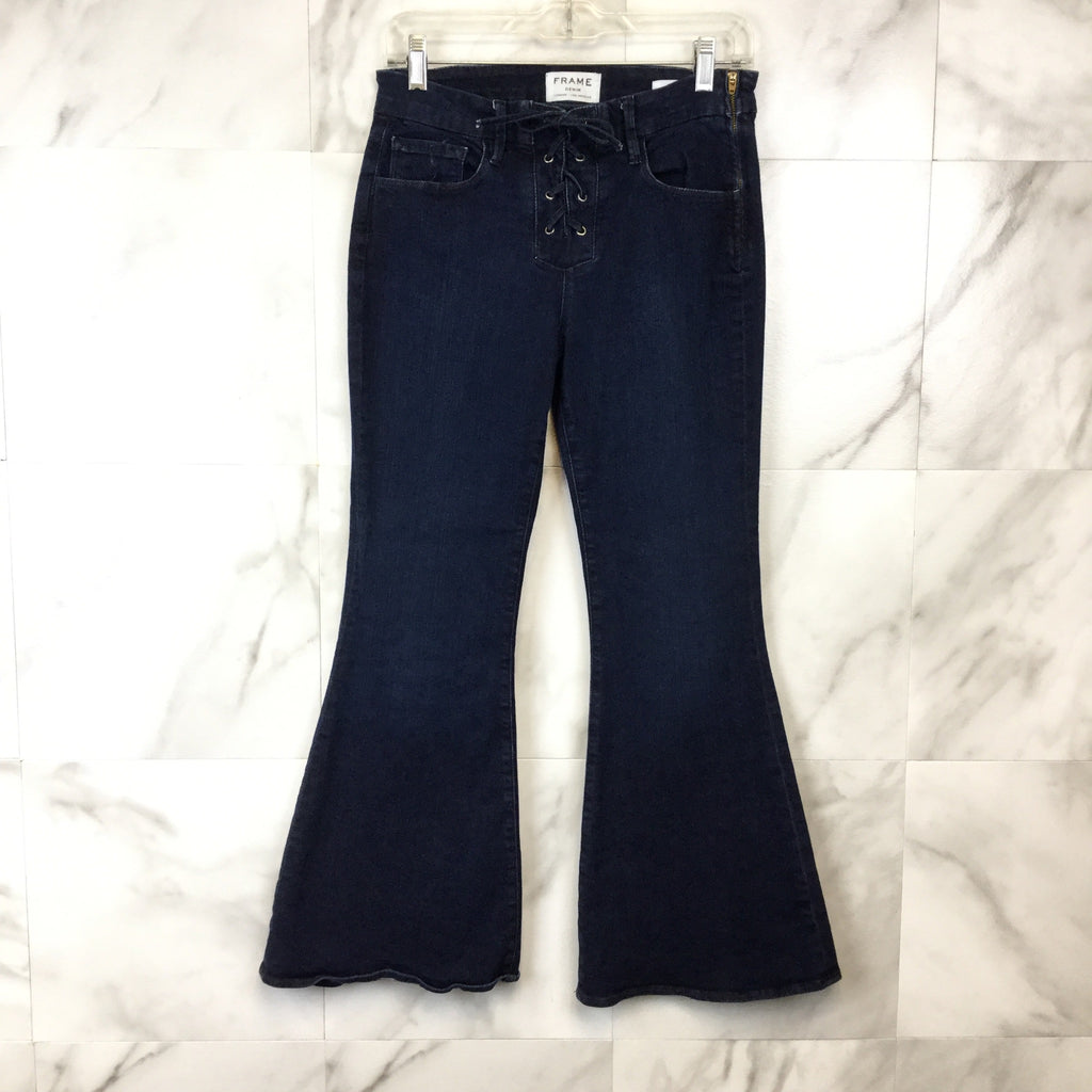 Frame Denim Le Bell Crop Lace-Up Jeans - size 27