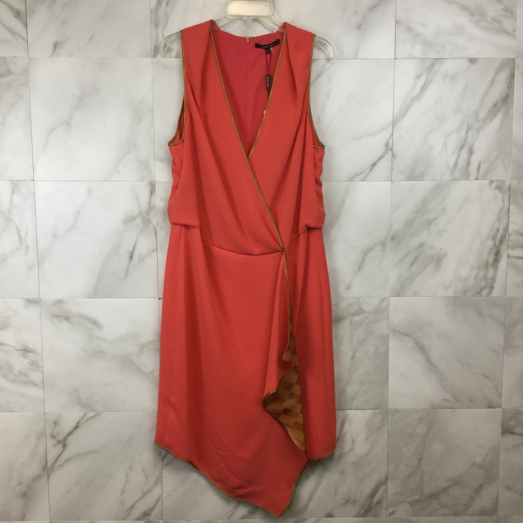 Rachel Roy Zinnia Coral Gold Cascade Dress - size 16